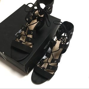 Simply Vera black ankle gladiator block heel lace